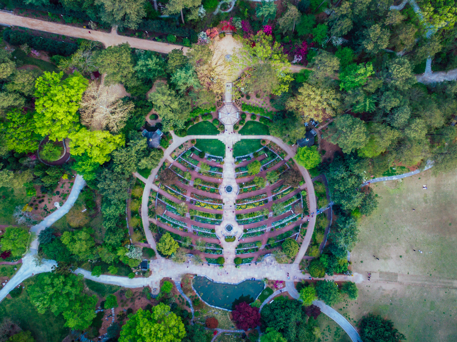 Duke Gardens terrace from above